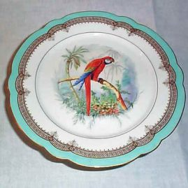 Paris porcelain compote with painting of parrot