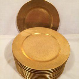 Set of twelve Pickard gilded dinner or service plates, 10 inch diameter. Sold