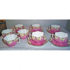 8 English pink fluted cups and saucers