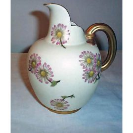 "Royal Worcester pitcher, 6"" tall, 7 1/2"" wide, ca-1889-1890, sold"
