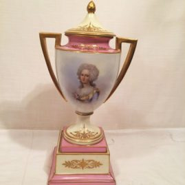 "French ""Sevres"" pink portrait urn, Chateau de Tuileries, 1848, signed Brun, 15"" tall, $2400.00"