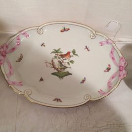 Herend Rothschild bird tay with pink ribbon decoration, 16 1/2 inches wide by 11 inches tall, Price on Request