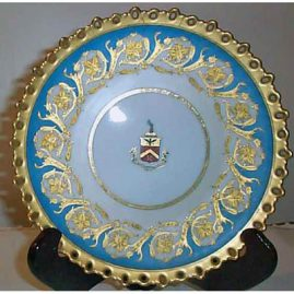 Pirkenhammer reticulated  plate with raised gilding and coat of arms, 1890s, 9 inches, $350.00