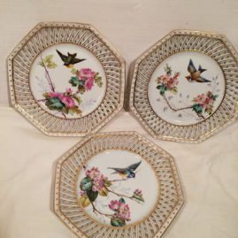 Set of 12 Pirkenhammer reticulated bird plates, each painted differently, 8 1/2 inches, Price on Request