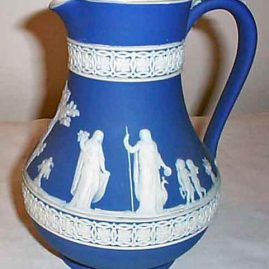 Wedgwood dark blue jasperware pitcher, 1890-1920, 7 inches, $450.00