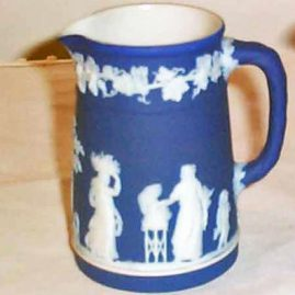 Wedgwood dark blue jasperware pitcher, 1890-1920, 4 inches tall, $295.00