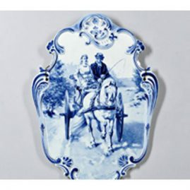 Wonderful Royal Delft plaque of couple in horse and carriage