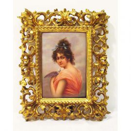 "Porcelain plaque of lady with bird signed Dittrich, in Venetian frame, 4"" by 6""-without frame, with frame, 91/2"" by 8, late 19th century, Sold"