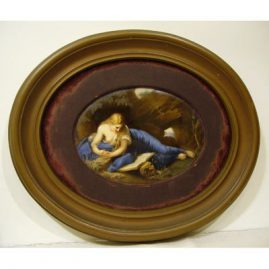 "Painting on porcelain of Mary Magdalene, 6 1/2"" by 4 1/2"" without frame, with frame- 10"" tall by 12"" wide, Sold"