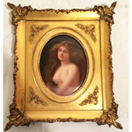 Hutchenreuther porcelain plaque of Solitude after Asti artist signed Kiel. Circa-late 19th century. With frame, measurements are 8 1/2 inches tall by 7 1/2 inches wide. Without frame, measurements are 5 inches tall by 3 3/4 inches wide. Sold.