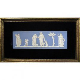 "Wedgwood plaque in frame, 1890s-1920s, without frame 3"" by 9"", with frame- 13 1/4"" by 8"" , Sold"