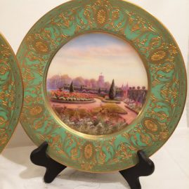 Royal Worcester garden plate of beautiful garden at the Terrace Garden at The Hoar House, with raised gilding artist signed Rashlon, circa-1928. Price on Request