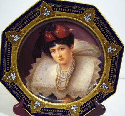 Octagonal cobalt Royal Vienna portrait plate