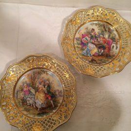 Pair of reticulated Helena Wolfsohn Dresden plates