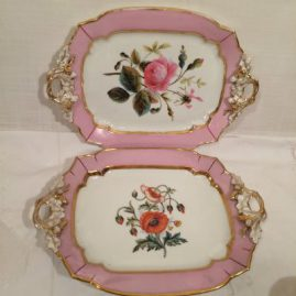 Two serving trays included in the pink Paris Porcelain tea service, 12 5/8 by 9 inches, prices on Request