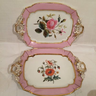 Two serving trays included in the pink Paris Porcelain tea service