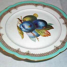 Paris Porcelain plum compote, CH Pillivuyt & Co, Paris, Medaille D'or, exp 1867, 9 inches. Price on Request.