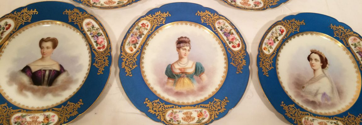 Set of 12 Sevres Portrait Plates, Each Painted Differently