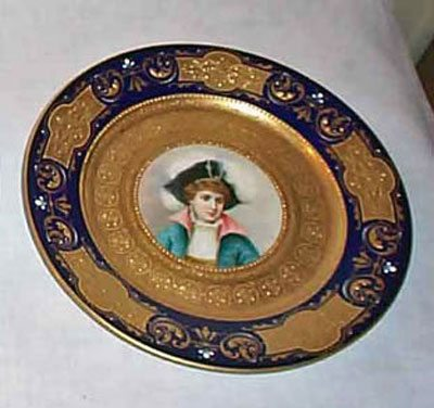 Pair of Royal Vienna cobalt portrait plates with raised gilding, beehive mark , ca-1890s-1900, $1995.00