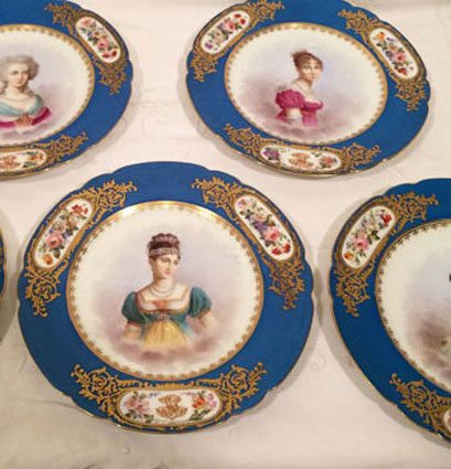 Set of twelve Sevres portrait plates each painted with different famous French women of nobility  sc 1 st  Elegant Findings Antiques & Set of twelve Sevres portrait plates each painted with different ...