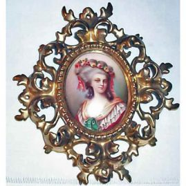 "Porcelain plaque of Princess Lambelle in Venetian frame, with frame- 8"" by 7"", SOLD"