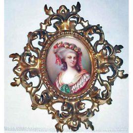 Porcelain plaque of Princess Lambelle in Venetian frame