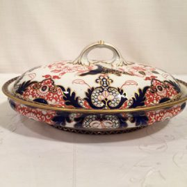 Royal Crown Derby imari covered vegetable bowl. Circa-1885. 12 inches wide by 9 inches tall with the cover. Price on Request.