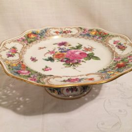 Dresden Potsnappel Carl Thieme  reticulated compote with reticulation around the  top and the base. Circa-1901-1920. Diameter-10 1/4 inches and 3 3/8 inches tall. Price on Request.