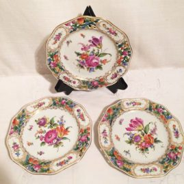 Set of ten Carl Thieme Potsnappel Dresden reticulated dessert plates