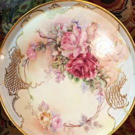 Limoge porcelain plaque or tray painted with pink roses