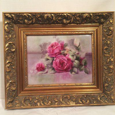 Limoges rose plaque with gilded frame