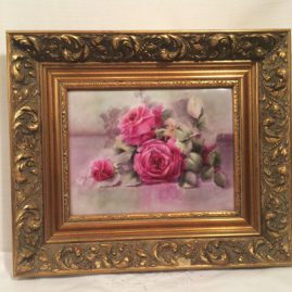 Limoges porcelain plaque with roses, Guerin-Pouyat-Elite Limoges, 1896-1900, Size without frame-10 by 7 5/8 inches, with frame-16 1/2 inches by 14 inches. Sold