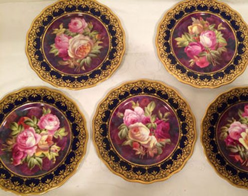Fabulous Cauldon cobalt rose plates, each painted differently