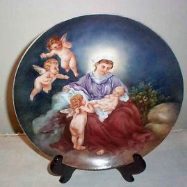 Rosenthal porcelain charger of lady and cherubs, 12 inch diameter, ca-1907, $595.00