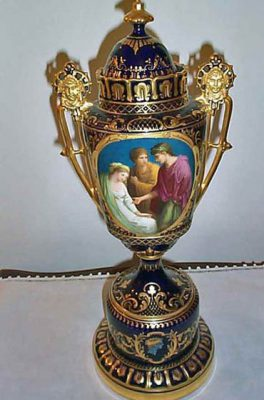 Large cobalt Royal Vienna Urn with masked handles and pate sur pate decoration