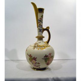 "Royal Worcester large ewer with beautiful flowers, 17"" tall, 9"" wide, 1886, Sold"
