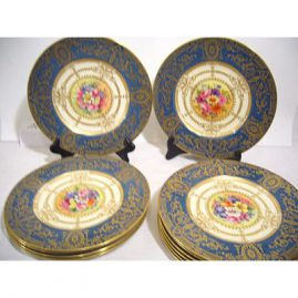 "Set of 12 Royal Worcester plates, 11 artist signed William Hale, the 12th signed E. Townsend, all painted with different bouquets of flowers, ca-1930, 10 1/2 "", Sold"