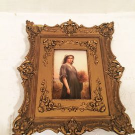 German Porcelain plaque of Ruth signed Wagner in gilded frame. .Circa-1890s, With frame-10 1/2 inches wide by 12 1/2 inches tall. Without frame , measurements are 6 inched tall by 3 5/8 inches wide. Price on Request.