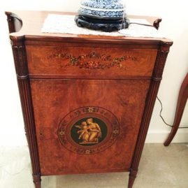 Satinwood cabinet decorated with a cherub and lady, Price on Request