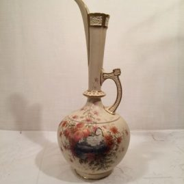 Tall Royal Worcester ewer vase with a beautiful scene