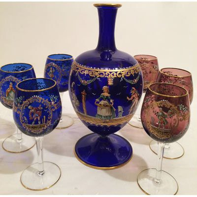 Another view of Lobmeyr set with decanter and six wine goblets painted with ladies, harlequins and gentlemen