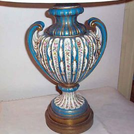 "Lamp attributed to Sevres, not taken apart, porcelain lamp base-19"" tall, 11 1/2"" wide, Price on Request"