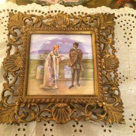 Minton tile depicting Macbeth in brass frame