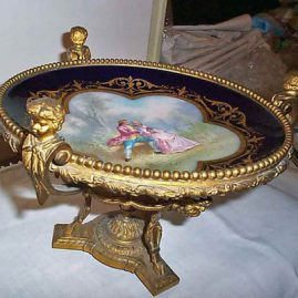 Another view of Marseilles centerpiece with cherub ormolu and paw feet, artist signed, with painting of lovers