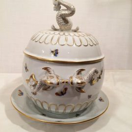 Side of Herend Rothschild bird tureen with dolphin on the top and sides, 13 14 inches tall and 13 inches wide with under plate.  Sold.