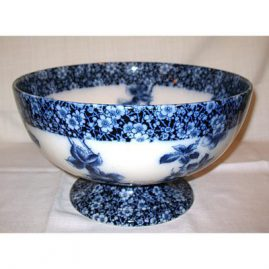 Doulton Burslem flow blue punch bowl, late 19th century, Sold