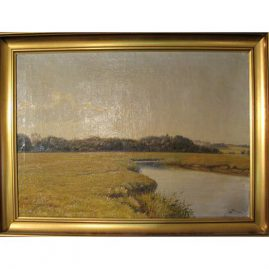 Oil on canvas signed Albert Wang,  ca-1864-1930, Sold