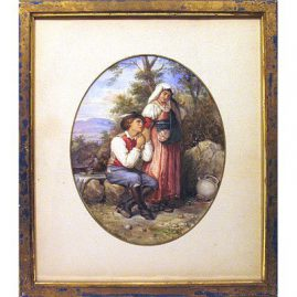 "Watercolor of lovers in the woods signed A. Buzzi without frame, 8 1/4"" by 10 1/2"", framed -14 1/2"" by 16 1/2"" , $1500.00"