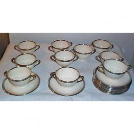 8 Lenox sterling rim green  mark cream soups and saucers, ca-1920s-1930s, Price on Request.