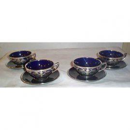 4 Lenox Belleek Ceramic Art Company cups and saucers